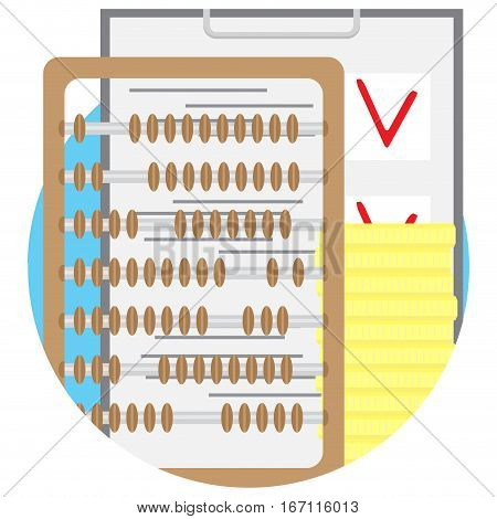 Checking budget vector icon flat. Balance counting golden financial illustration