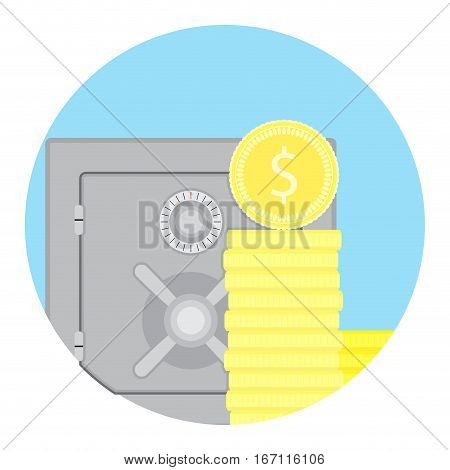 Accrued interest vector icon. Investment finance in safe bank illustration