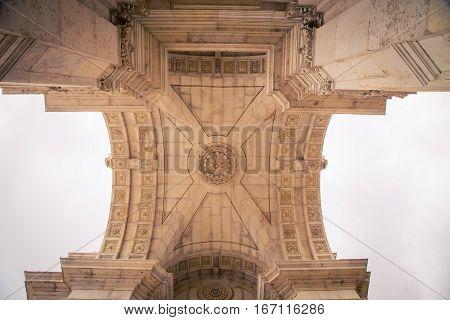interior of Arco da Rua Augusta in Lisbon Portugal