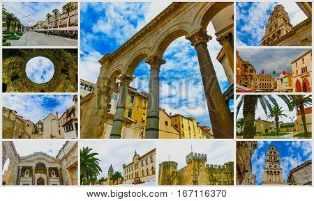 The collage from images of Split Croatiain old city at a cloudy day. It is well preserved and important popular touristic attraction of Dalmatia