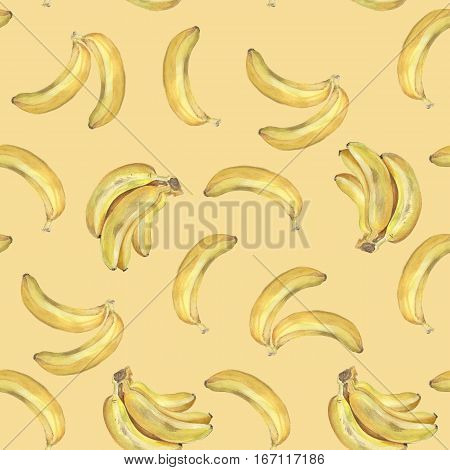Bunch of bananas. Seamless pattern. Watercolor Background 20