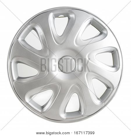 Silver car wheel trim on a white background