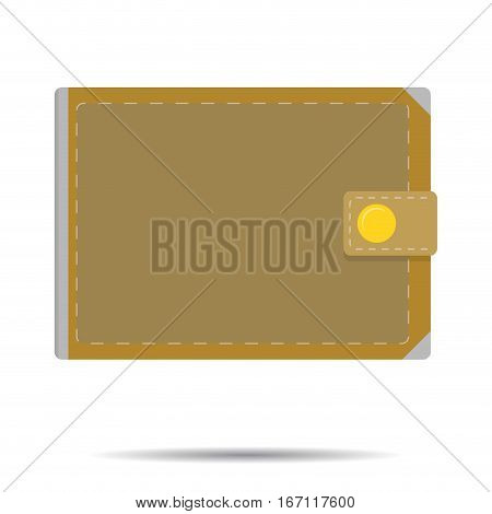Leather wallet isolated vector. Notecase with cash money illustration