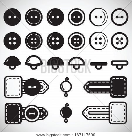 Vector set of isolated icons of buttons in flat style in full face and profile. Button in the loop loop clothing beads.