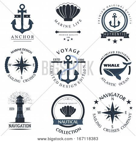 Set of sea and nautical decorations isolated on white background. Collection of nautical elements for company logo business marine anchor retro badge and nautical decor design. Vector nautical logo.