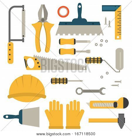 Home repair tools icons. Working repair construction equipment hammer tool. Hand saw, level, hammer and other construction tools. Home repair industry set isolated.