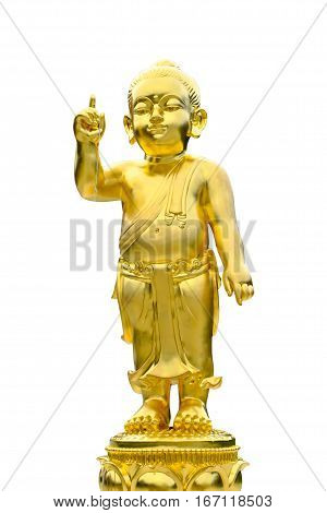 Closeup old brass baby buddha statue isolated on black background