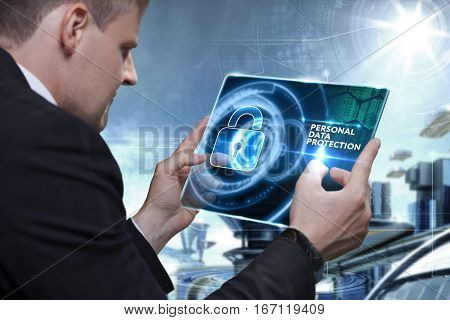 Business, Technology, Internet And Network Concept. Businessman Working On The Tablet Of The Future,