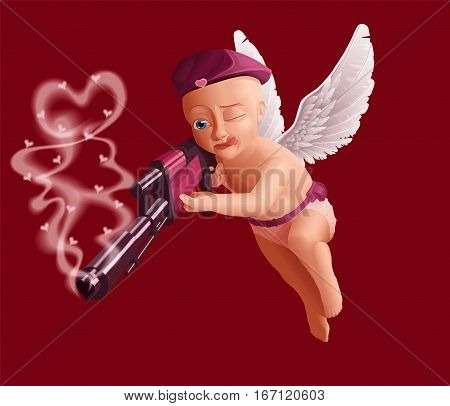 Cute baby cupid with white angel wings, holding a heavy gun.