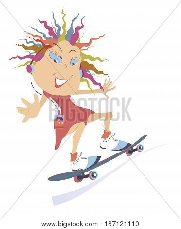 Skateboarding girl. Cartoon smiling teenager girl in headphones is riding on a skateboard and listening the music on the portable digital music player