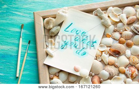 Do What You Love, Love What You Do - Motivational Word Abstract Paintbrushes Scattered Shells, Creat