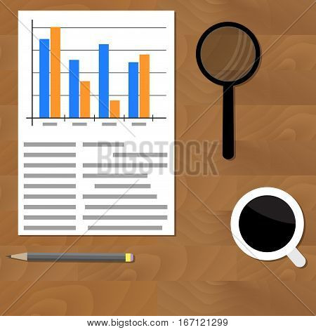 Analytics vector flat. Plan earning on table office diagram accounting illustration