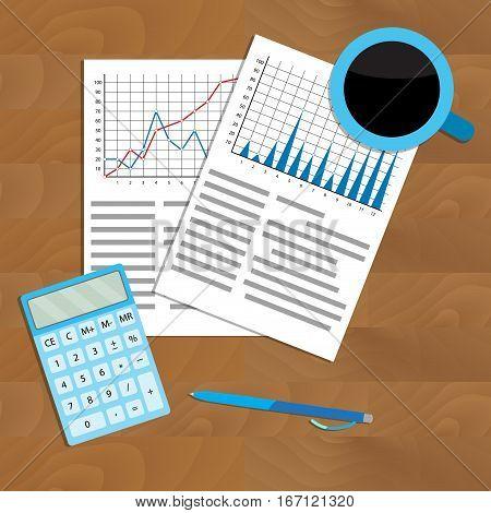 Check statistics charts. Analyze and analytics structure market analysis. Vector illustration