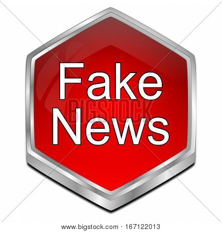 glossy red Fake News button - 3D illustration