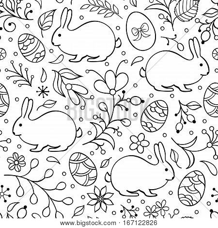 Illustration of seamless pattern with flowers, bunnies, and easter eggs on white background. Coloring page for children and adultVector illustration.