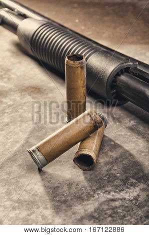 Weapon. Shotgun Concept. Black Shotgun And Shotgun Sleeve.