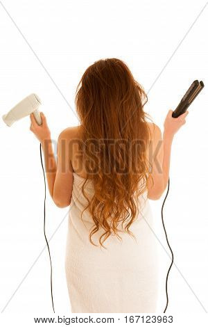 Beautiful Young Woman Holds Hair Brush And Blow Dryer Isolated Over White Bavkground