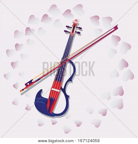 My love. Violin. For ticketing, souvenir program, Anons in Newspapers, invitations to the evening of music. Composition with pink hearts for greetings on Valentine's Day, engagement, wedding.