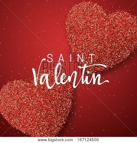 Happy Valentines Day. lettering French Inscription handmade. Saint Valentin. Greeting card on red bright heart background. Decoration for design of brochures, posters, web. World celebration love