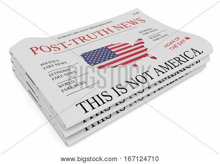 Post-Truth News US Media Concept: Pile of Newspapers 3d illustration on white background