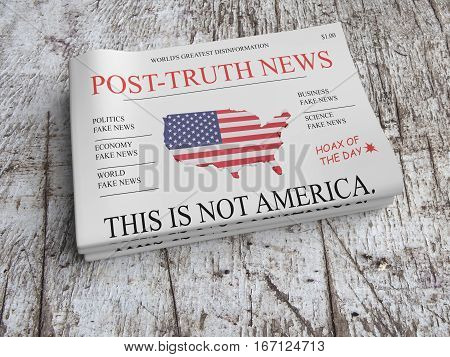 US Media Concept: Pile of Newspapers Post-Truth News On Scratched Old Wood 3d illustration