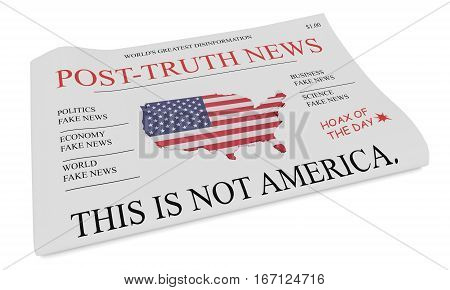 Post-Truth News US Media Concept: Newspaper Front Page 3d illustration on white background