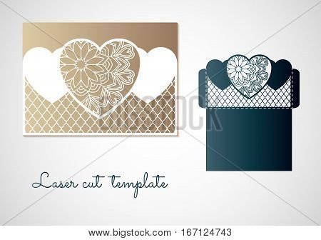 Openwork hearts with mandala pattern. Vector Laser cutting template for an envelope.