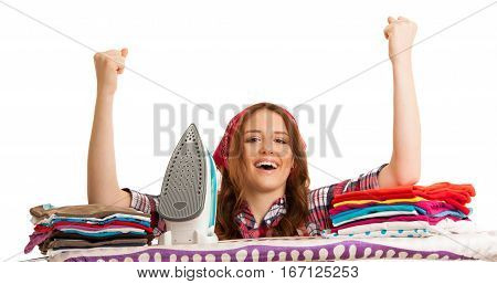 Happy Woman Singing As She Has Finished Ironing Isolated Over White