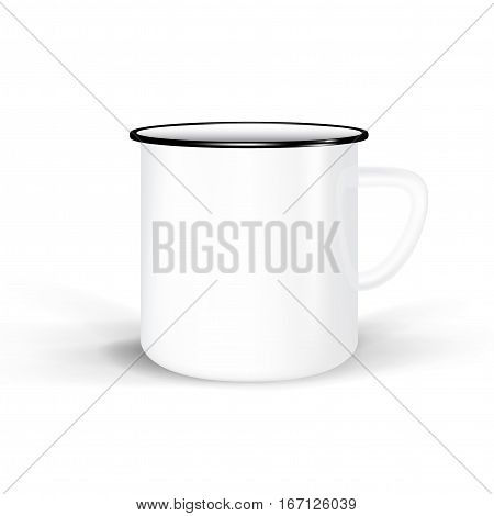 clean enamel mug isolated on white background. photorealistic white cup for branding