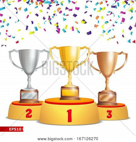 Trophy Cups On Podium. Golden, Bronze, Silver. Winners Pedestal Concept With First, Second And Third Place. Award Ceremony With Falling Confetti. Winner Concept. Vector Illustration