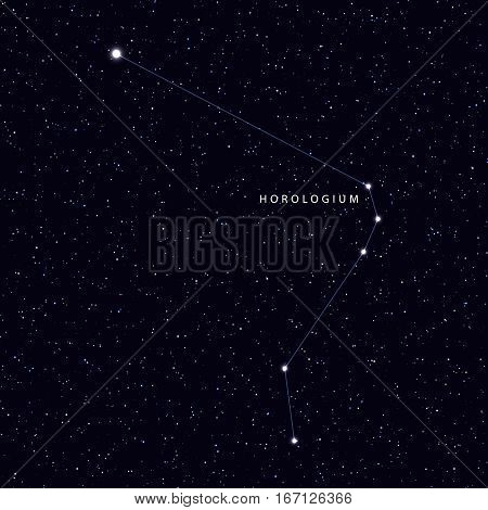 Sky Map with the name of the stars and constellations. Astronomical symbol constellation Horologium