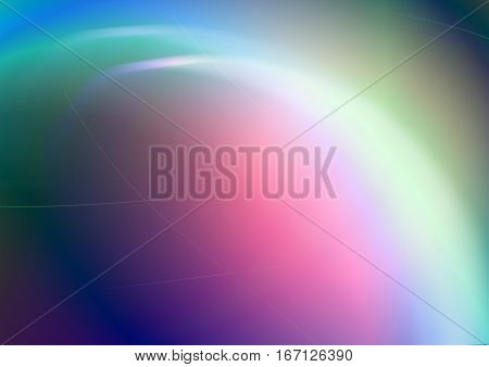 Abstract bright rainbow convex background with back lit and shining curves