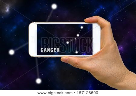 Augmented Reality, Ar, Of Cancer Zodiac Constellation App On Smartphone Screen Concept
