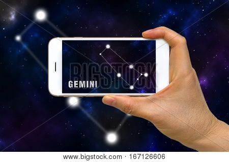 Augmented Reality, Ar, Of Gemini Zodiac Constellation App On Smartphone Screen Concept
