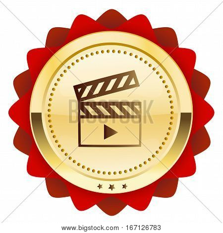 Film seal or icon with movie symbol. Glossy golden seal or button.