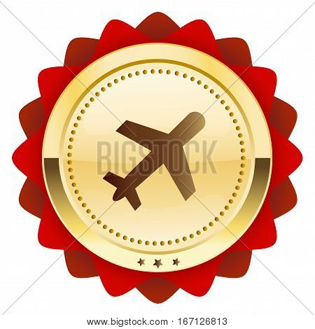Best price seal or icon with airplane symbol. Glossy golden seal or button.