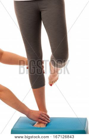 Physiotherapy - Therapist Doing   Excercises For Improving Coordination And Stability With A Patient