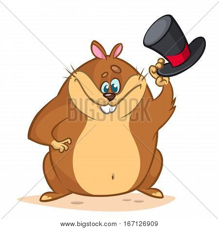 Cute groundhog cartoon with a mayor cylinder. Vector illustration for Groundhog Day