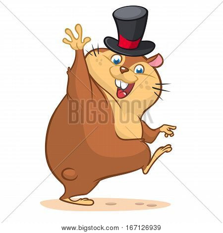 Happy cartoon groundhog on his day with mayor hat. Vector illustration with cute marmot waving. Happy Groundhog Day Theme