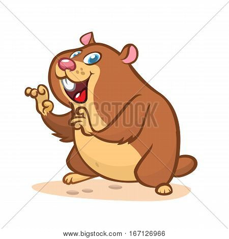 Cute cartoon marmot. Vector illustration with happy smiling groundhog character isolated
