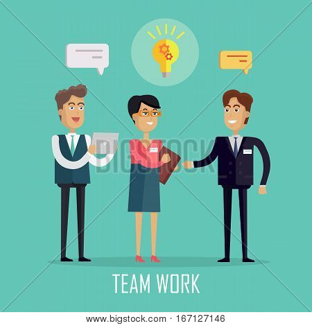 Team work concept vector in flat style design. Peoples in suits discuss conceptual idea as light bulb with gears. Illustration of business characters, work process, brainstorm infographics.