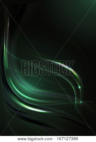 Abstract with back lit green background with intersecting curving green strips
