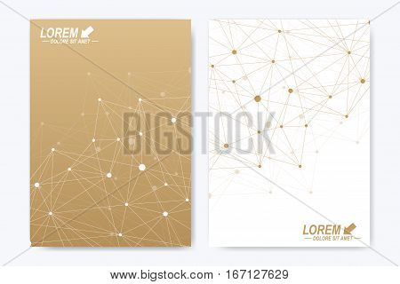 Modern vector template for brochure Leaflet flyer advert cover catalog magazine or annual report. A4 size. Business, science, medical design. Golden cybernetic dots. Lines plexus. Card surface poster