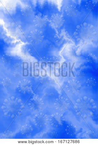Abstract gentle blue white zigzag background with bluish snowflakes
