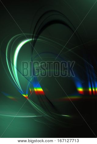 Abstract intersecting oval white and blueiridescent curveson dark green background