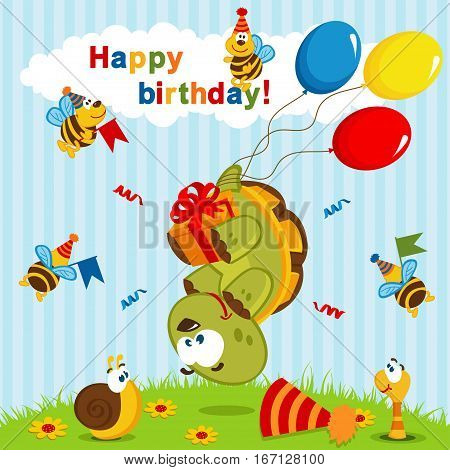 birthday turtle flown on balloons - vector  illustration