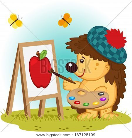 little hedgehog paints on canvas -  vector illustration