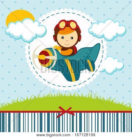baby boy flies on a plane - vector illustration