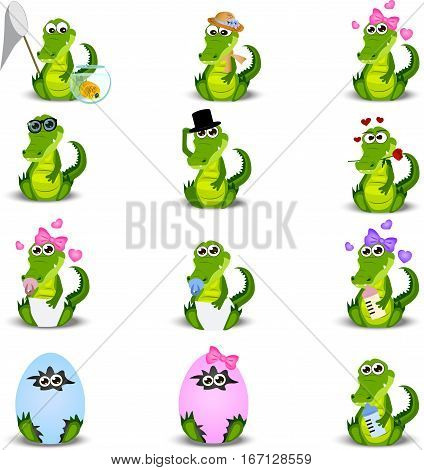 Very high quality original trendy vector set with crocodile or alligator with nipple, egg, diapers and hats