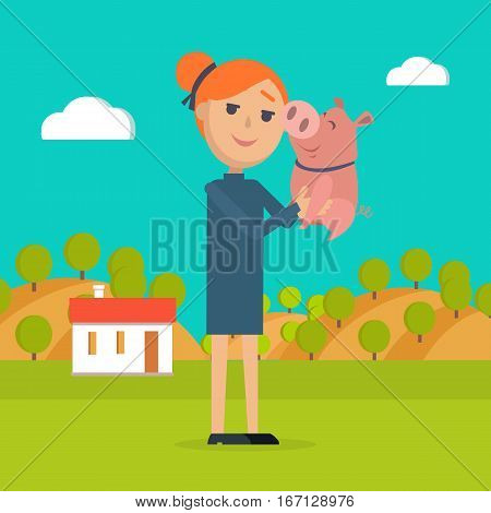 Woman holds pig in hand. Country farm on background. Farmer girl with her adorable pet in countryside. Small pink piggy with his mistress. Summer holidays in village in flat style. Vector illustration